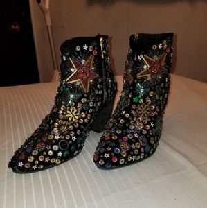 FREE PEOPLE SEQUIN ANKLE BOOTS